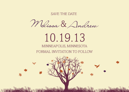 Save the Date Card - Fall Leaf