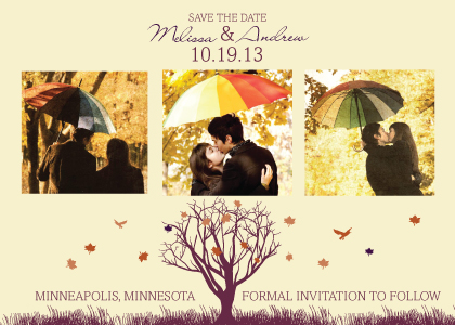 Save the Date Card with photo - Fall Leaf