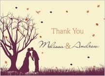 Wedding Thank You Card - fall leaf