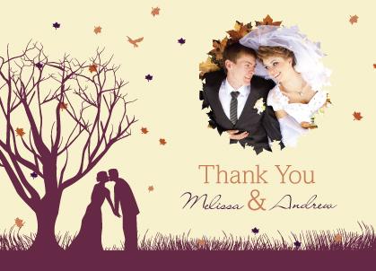 Wedding Thank You Card with photo - Fall Leaf