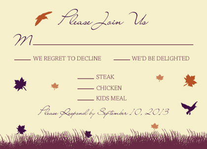 Response Card with menu options - Fall Leaf