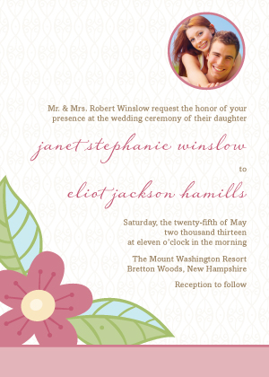 Wedding Invitation with photo - Blossoms