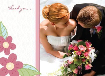 Wedding Thank You Card with photo - Blossoms