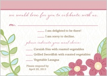 Response Card with menu options - blossoms