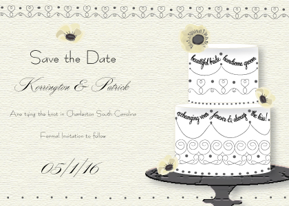 Save the Date Card - Wedding Cake (Words)