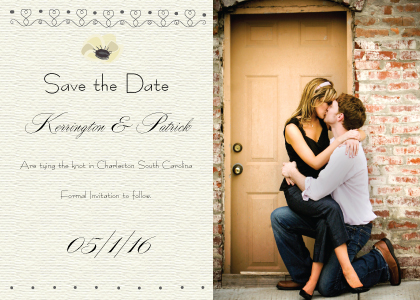 Save the Date Card with photo - Wedding Cake (Words)