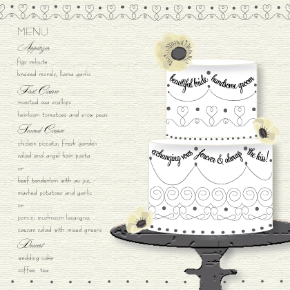 Menu - Wedding Cake (Words)