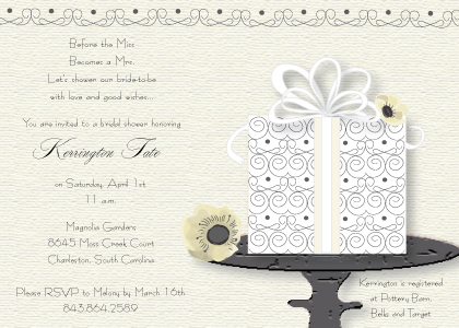 Wedding Shower Invitation - Wedding Cake (Words)
