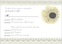 Response Card with menu options - wedding cake (words)