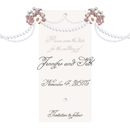 Save the Date Card - Wedding Pearls