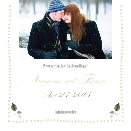 Save the Date Card with photo - Wedding Greenery