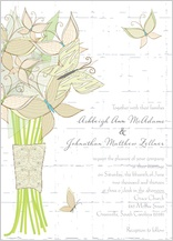 Wedding Invitation - butterfly wedding bouquet