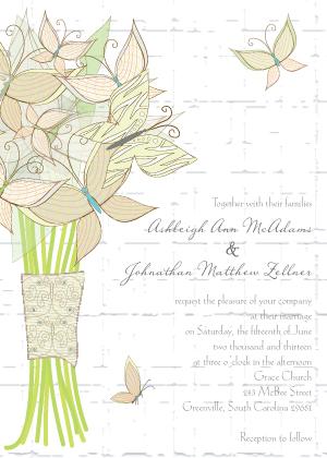 Wedding Invitation - Butterfly Wedding Bouquet