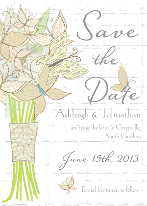 Save the Date Card - Butterfly Wedding Bouquet