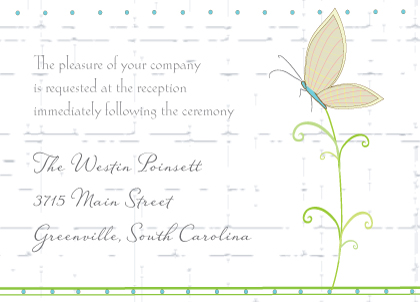 Reception Card - Butterfly Wedding Bouquet