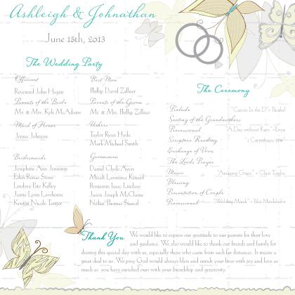 Program - Butterfly Wedding Bouquet