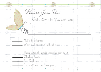 Response Card with menu options - Butterfly Wedding Bouquet