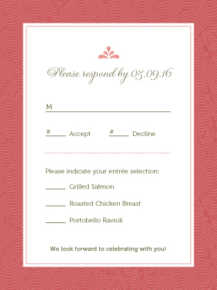 Response Card with menu options - Paradise Found