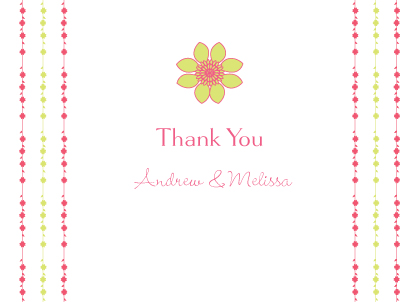Wedding Thank You Card - Floral Garland