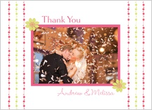 Wedding Thank You Card with photo - floral garland