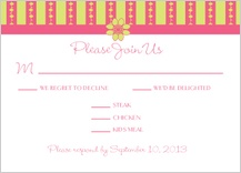 Response Card with menu options - floral garland