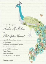 Wedding Invitation - peacock butterfly flower garden