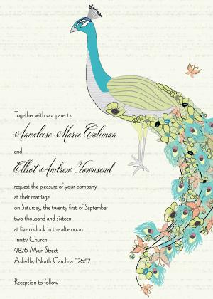 Wedding Invitation - Peacock Butterfly Flower Garden