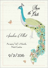 Save the Date Card - peacock butterfly flower garden