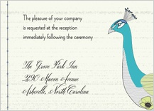 Reception Card - peacock butterfly flower garden