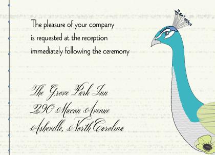 Reception Card - Peacock Butterfly Flower Garden