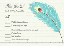 Response Card with menu options - peacock butterfly flower garden