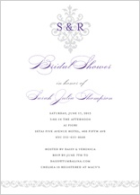 Wedding Shower Invitation - damask monogram
