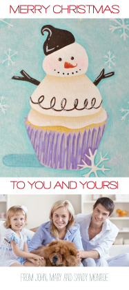 Holiday Cards - Snowman Cupcake