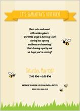 Birthday Party Invitation - bumble bee birthday