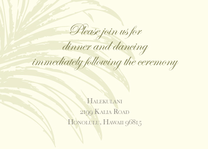 Reception Card - Palm Trees
