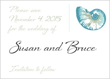 Save the Date Card - sea shells
