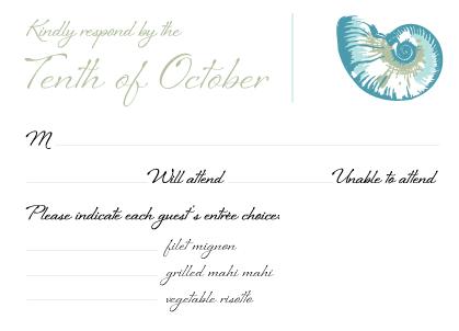 Response Card with menu options - Sea Shells