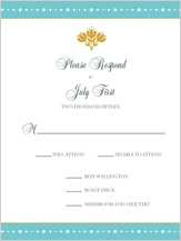 Response Card with menu options - beaded garland