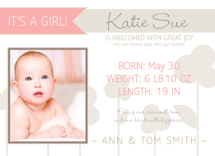 Birth Announcement with photo - Baby Flowers