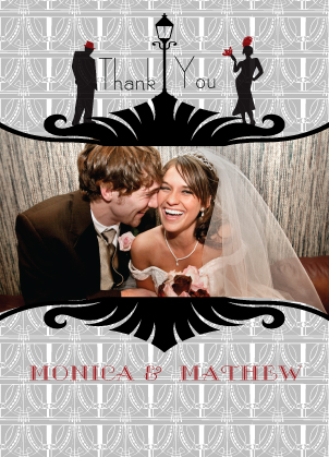 Wedding Thank You Card with photo - Roaring 20's Save the Date