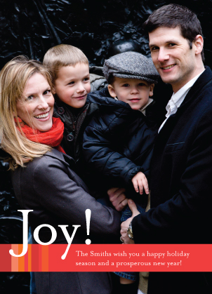 Christmas Cards - Modern Joy Stripe Vertical