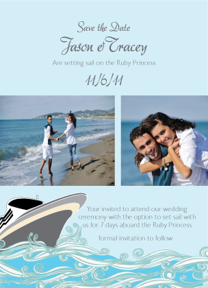 Save the Date Card with photo - Set Sail Save the Date