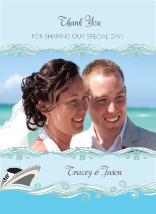 Wedding Thank You Card with photo - Set Sail Save the Date