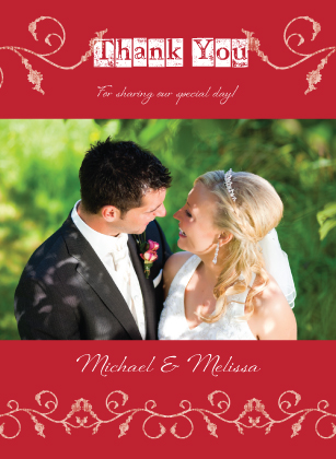 Wedding Thank You Card with photo - In Type