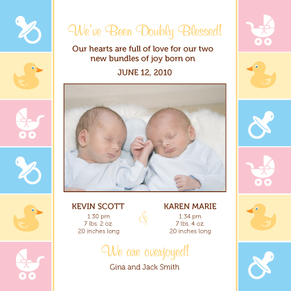 Multiples Birth Announcement with photo - Baby Border
