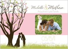 Save the Date Card with photo - spring apple blossom