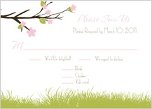 Response Card with menu options - spring apple blossom