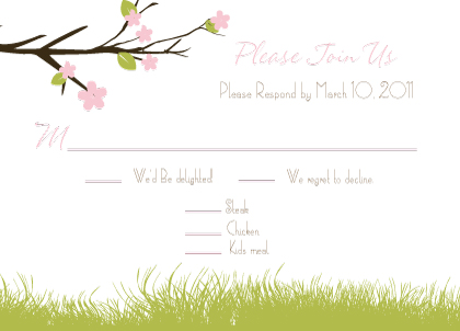 Response Card with menu options - Spring Apple Blossom