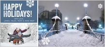 Holiday Cards - snowy night stroll