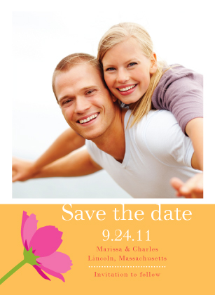 Save the Date Card with photo - Wildflowers